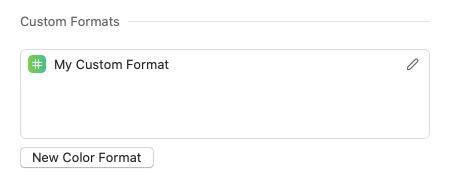 Custom color format preferences