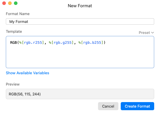 Custom color format editor